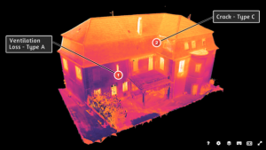 Figure 1 – Faults annotation displayed on thermal 3D model produced using a drone survey